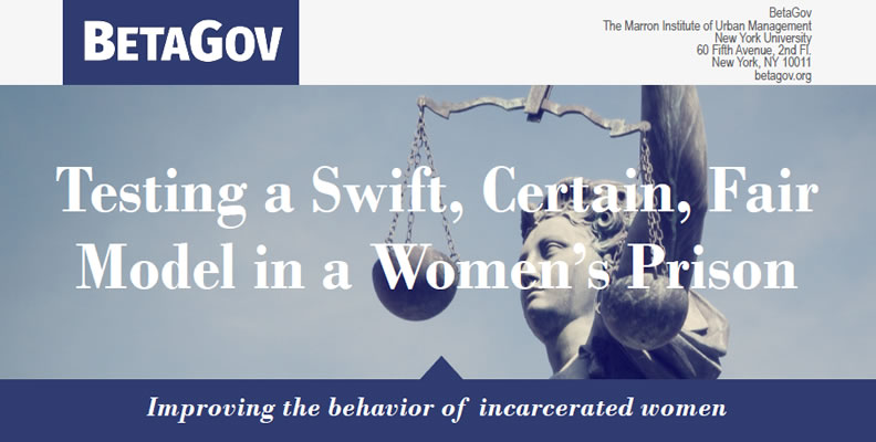Testing a Swift, Certain, Fair Model in a Women's Prison